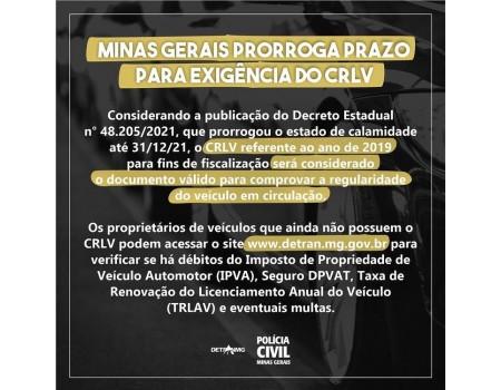 MINAS GERAIS TEM NOVO PRAZO PARA EXIGÊNCIA DO CRLV